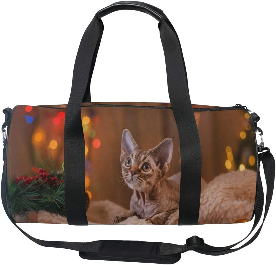 Duffel Bags Beautiful Kitten Against Christmas Background Womens Gym Yoga Bag Small Fun Sports Bag for Men