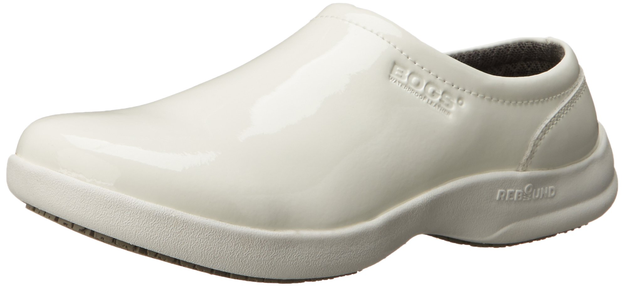 Bogs Women's Ramsey Patent Leather Slip Resistant Work Shoe, White, 8 M US