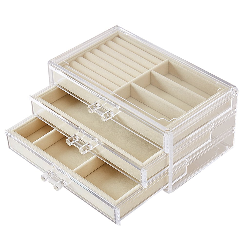 Goldwheat Acrylic Jewelry Box Organizer Earring Rings Display Case Gift for Women Girls