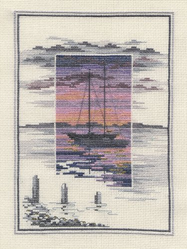 Derwentwater Sunsets Series - Waters Edge Counted Cross Stitch Kit 16 count  aida