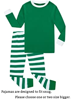 Family Feeling Striped Boys Girls 2 Piece Christmas Pajamas Set 100% Cotton  Pjs 574d913ce