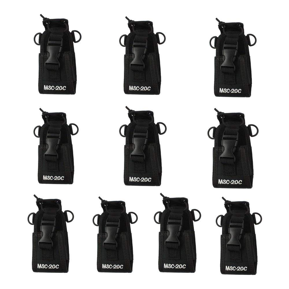 Trdio Nylon Radio Case Holder for Kenwood/Yaesu/Icom MotorolaGP338+/344/328/ Baofeng BF-666S/777S/888S 10 Pack, Black