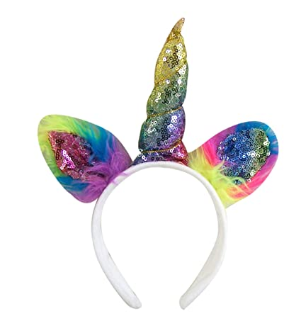 Amazon.com  Magical Rainbow Sequin Unicorn Horn and Ears Headband ... 54c67892994