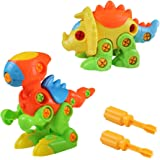 Dinosaurs Toys Assembly Disassembly Monoclonius Tyrannosaurus Take-apart Pull Animal Dino Puzzle Toys for Boys Girls 3 4 5 6 Years Old