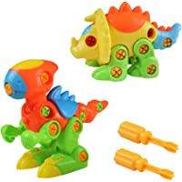 Akokie Dinosaur Toys Kids Take Apart Animals Toys DIY Dino Puzzle Push Construction Set Assembly for Boys Girls 3 4 5 6 Years Old