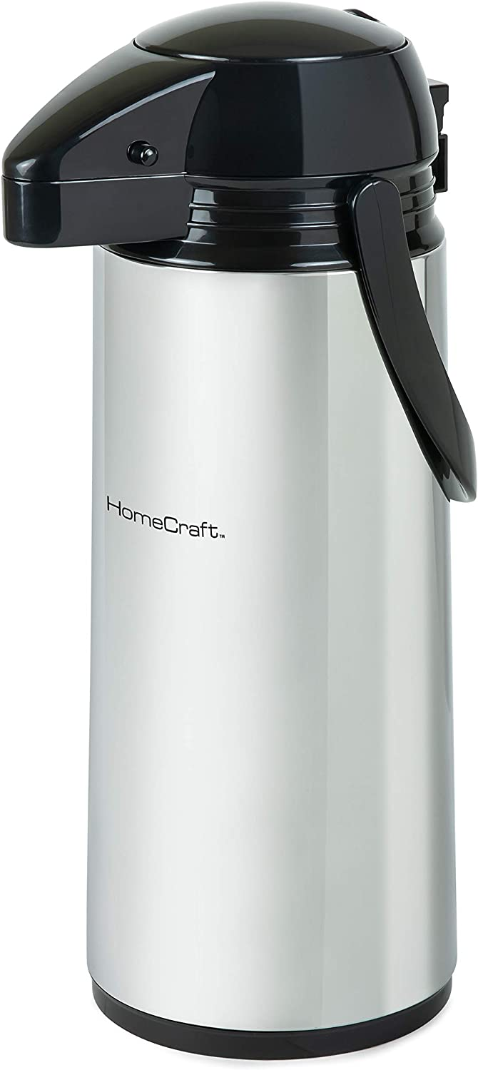 HomeCraft HCCAP2SS 2-Liter Stainless Steel Thermal Airpot Coffee Carafe Easy Push Button Dispenser, Perfect For Hot and Iced Drinks, Water, Tea