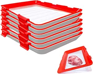 LHOTSE Square Vacuum Seal Food Preservation Tray - Preservation Food StorageStackable and Reusable Food Container with Plastic Lid for Vegetable Fruit Meat Kitchen, Office, School(6packs)