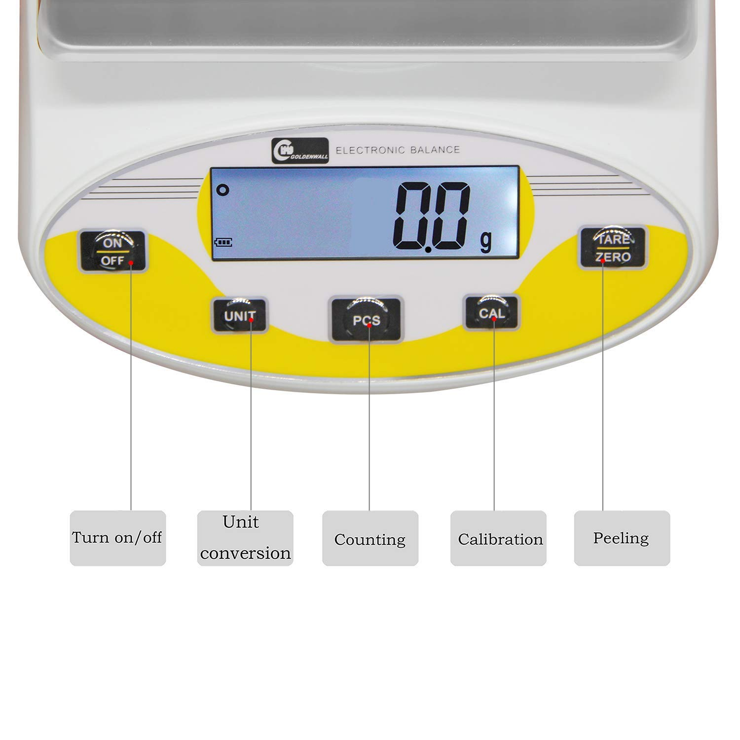 10kg, 0.1g CGOLDENWALL Large range Lab Digital Analytical Balance Lab Precision Scale Jewelry Kitchen Scales Electronic Balance Weighing and Counting Scale 0.1g Calibrated Pan size 180140mm Yellow