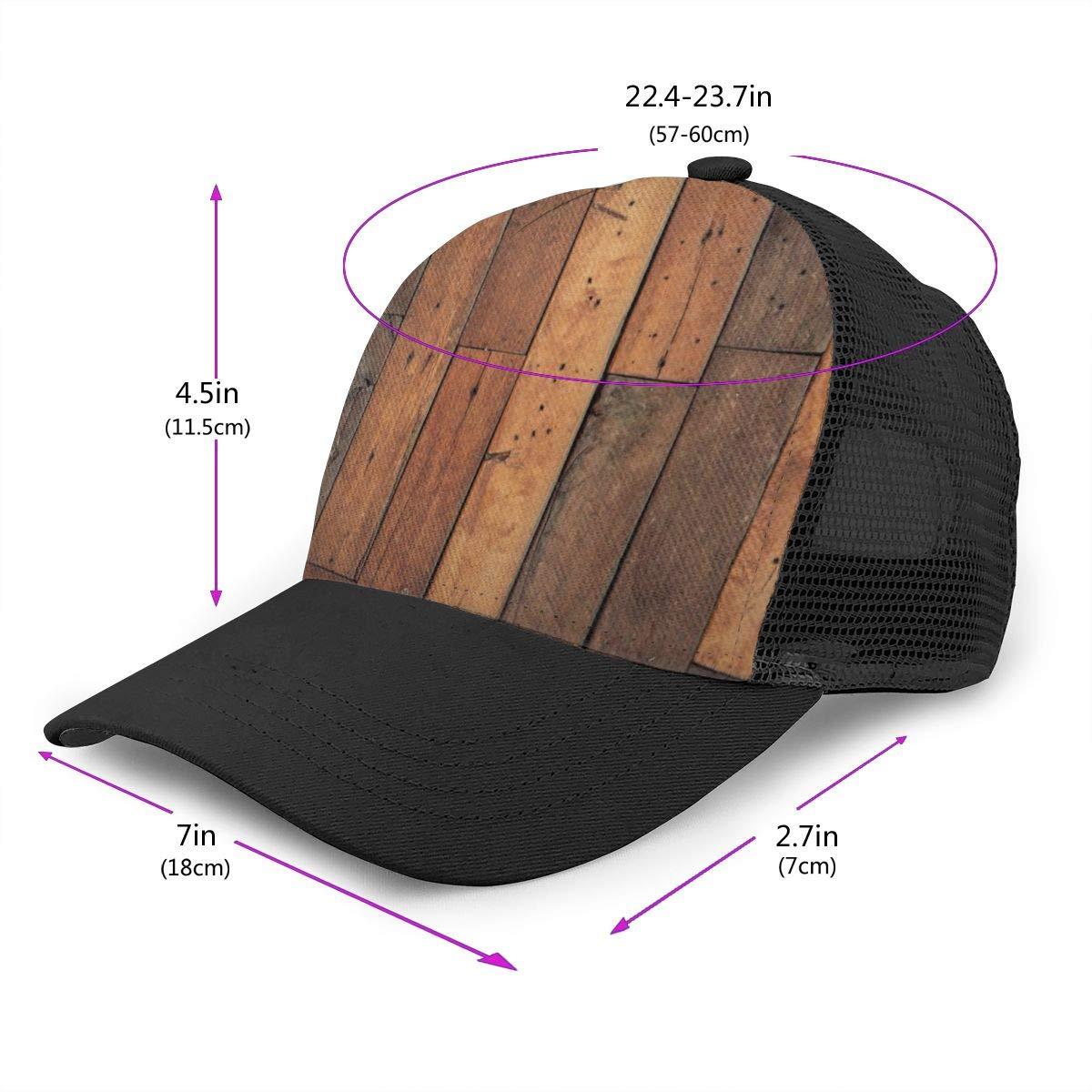 Fitted Trucker Hat for Unisex Mens Wood Pattern Floor Flat Baseball Cap