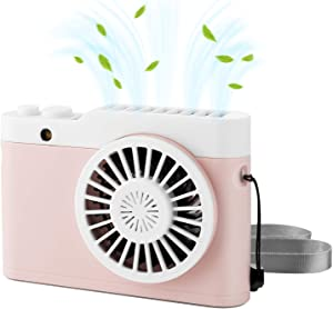 Tutuko Mini Portable Fan, Hanging Necklace Fan USB Rechargeable Battery Operated Fan, Hands Free 3 Adjustable Speed Personal Fan for Home Office Outdoor Travel, Pink