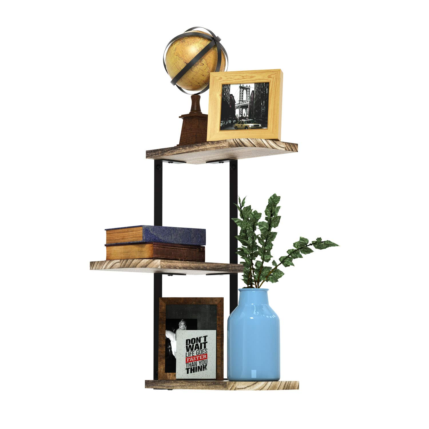 Love-KANKEI Corner Shelf Wall Mount of 3 Tier Rustic Wood Floating Shelves for Bedroom, Living Room, Bathroom, Kitchen, Office and More
