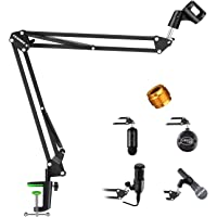 Aokeo AK-35 Adjustable Compact Microphone Suspension Boom Scissor Arm Stand For Blue Yeti Snowball iCE, Constructed With…
