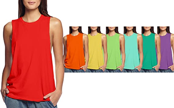 c4fe88b3d Hybrid Cotton Jersey Sleeveless Wide Armhole Relaxed Tank Shirt 6 PK &  Single at Amazon Women's Clothing store: