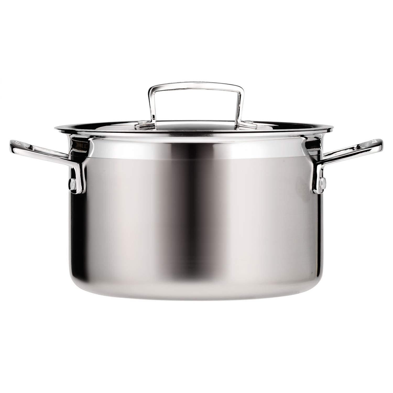 Le Creuset 3-Ply Olla con tapa, Ø 20 cm, acero inoxidable, volumen 4,0 L, para todo tipo de fuentes de calor (incl. inducción), metálico