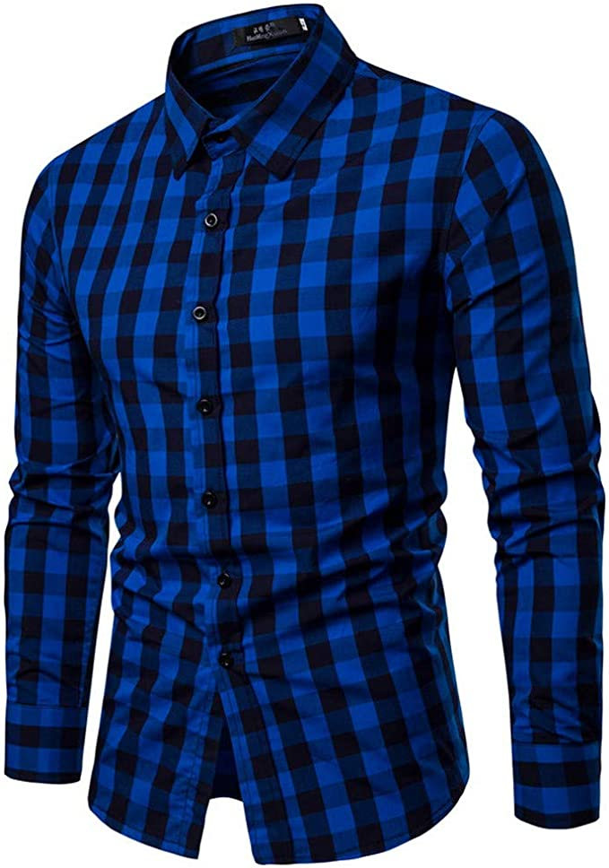 Mens Slim Fit Long Sleeve Cotton Shirt Plaid Casual Button Business Dress Shirt