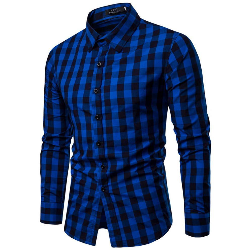 Mens Dress Shirts Slim Fit Long Sleeve Casual Button Down Plaid Muscle T-Shirt Tops Blouse Pullover Jumper Sweatshirts
