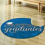 Dining Room Home Bedroom Carpet Floor Mat College Celebration Ceremony Certificate Diploma Square Non Slip rug-Round 55''