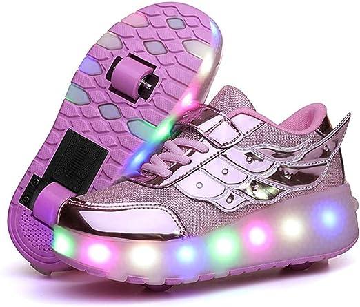 PBQWER Kids LED Light Up Wheel Shoes