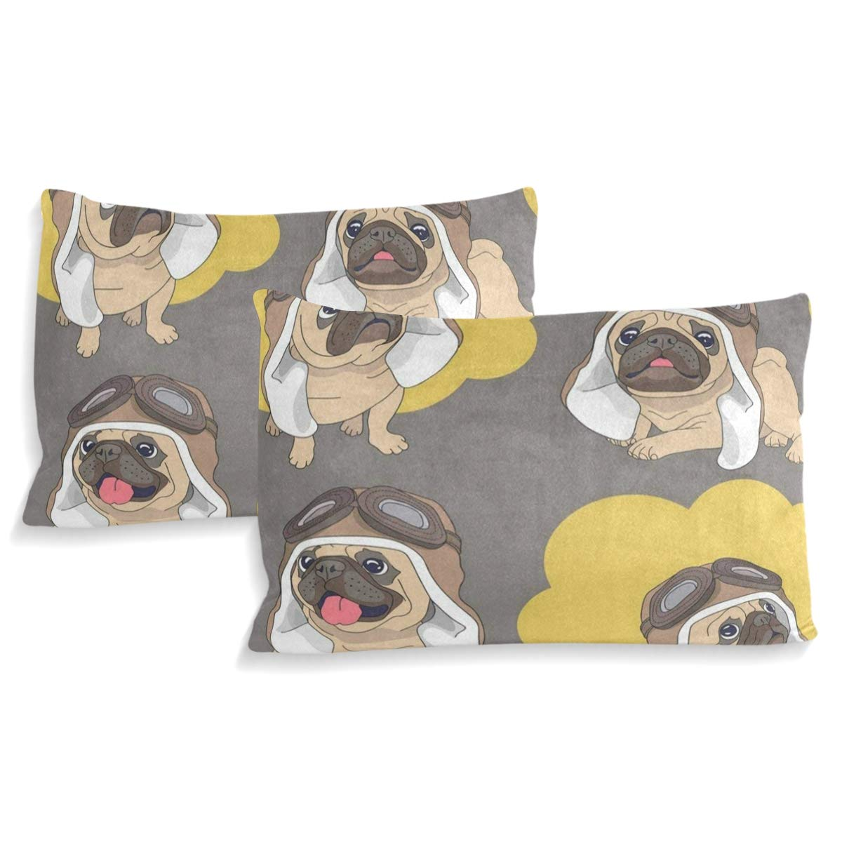 Multicolor IDO Cartoon Pug Puppy Dog Kids Bedding Comforter Cover Sets Ultra Soft Crystal Velvet Cotton Satin Hotel Collection-Decorative 3 Piece Bedding Set with 2 Pillow Shams