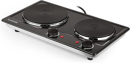 Klarstein Cookomaniac Cocina eléctrica - 2 fogones con reguladores de temperatura gradual, Hasta 320 °C, 2500 W, Compacto, Carcasa acero, Negro