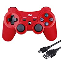 Kabi Bluetooth Wireless Controller for PS3 Controller Double Shock Gamepad 6-Axis Game Controller for Playstation 3 Bonus Free Charging Cable(2017 New) Red