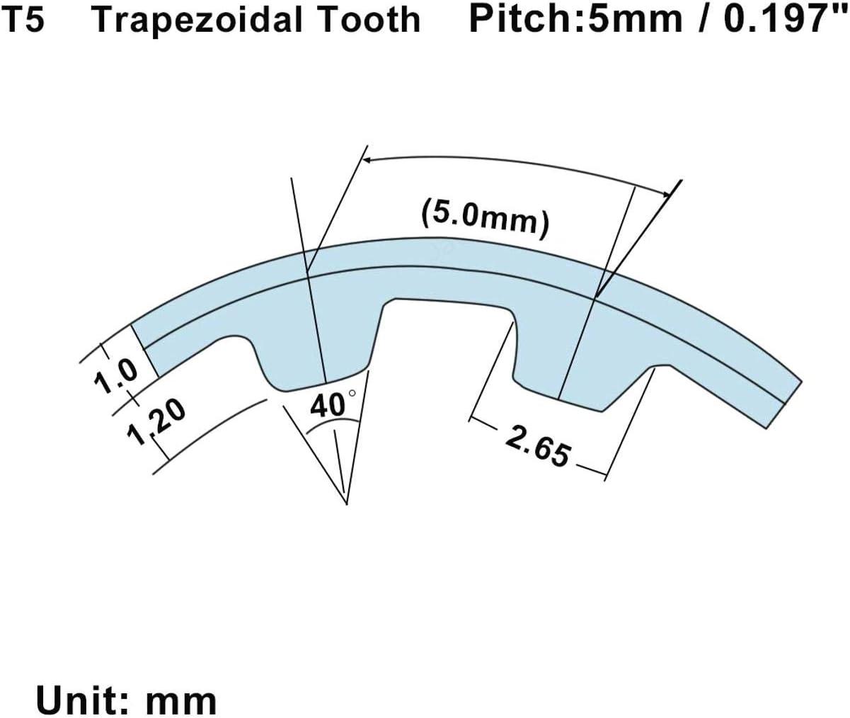 SALAKA La Courroie de synchronisation en Caoutchouc de Largeur de 10mm synchronise Les Outils T5-610 de Courroie de Boucle ferm/ée de Ceinture