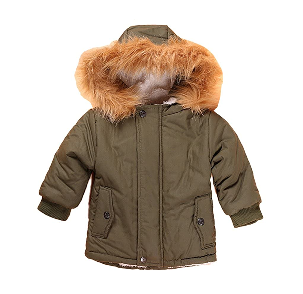 YUFAN Toddler Little Boys Winter Fleece Lined Parka Jacket Green Hooded Outerwear Coat