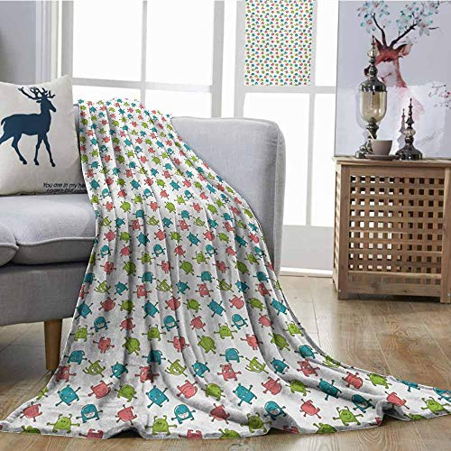 Blanket Sheets Baby Aliens Cute Monsters Caricature Pattern Abstract Characters Funny Expressions Green Teal Coral Print Summer Quilt Comforter W70 xL93 -