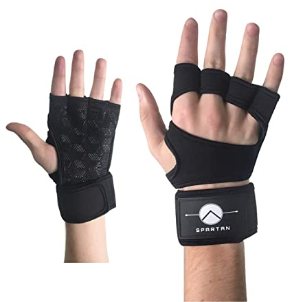 d98f1a5ac0 New Spartan Grip Weight Lifting Gloves with Built-in Wrist Wraps,  Ventilated Full Palm Protection & Extra Grip. Great for Pull Ups, Cross  Training, Fitness, ...