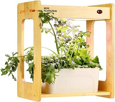 CRZJ Jardín de Hierbas de Interior, Madera Smart Mini Sistema de LED hidropónico de Interior Inteligente Planta Grow Luz de jardín Interior, 20W Planta LED Grow Light: Amazon.es: Deportes y aire libre