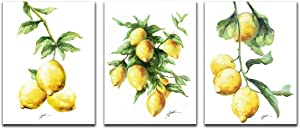 Canvas Wall Art Lemon Painting - Canvas Prints Fruit Lemon Picture Stretch and Framed Ready to Hang for Home Decoration Kitchen Decor 12x16inchx3Panels