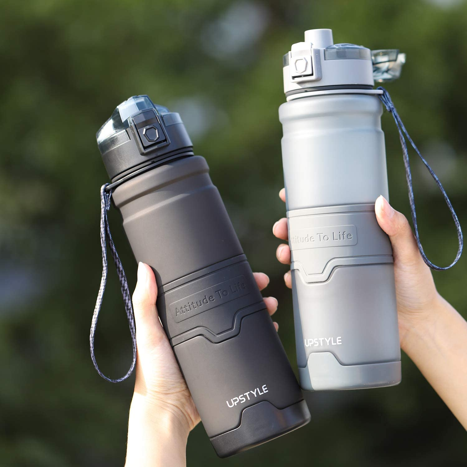 Number-One Sports Water Bottle 36oz//1000ml Leakproof Motivational Water Bottle Fruit Infuser Fitness Hiking Camping Yoga-Grey BPA Free with Filter /& Lock Lid Drink Bottles for Outdoor Cycling