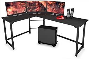 SZXKT L Shaped Desk Home Office Corner Desk Computer Table Sturdy Gaming Desk Writing Desk Workstation (Black)
