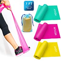 Coolrunner 7FT. Long Latex Free Elastic Flat Exercise Band Set of 3 with Carry Bag, Wide Fitness Resistance Bands for Pilates, Gym, Physical Therapy, Yoga, Carry Bag, Green & Yellow & Rose Red