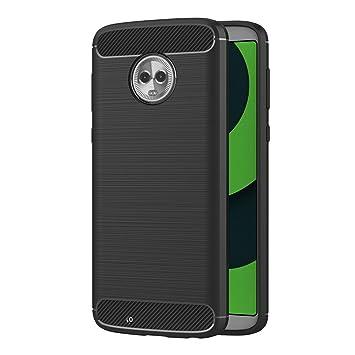 AICEK Funda Motorola Moto G6, Negro Silicona Fundas para Moto G6 Carcasa Motorola Moto G6 Fibra de Carbono Funda Case (5,7 Pulgadas)