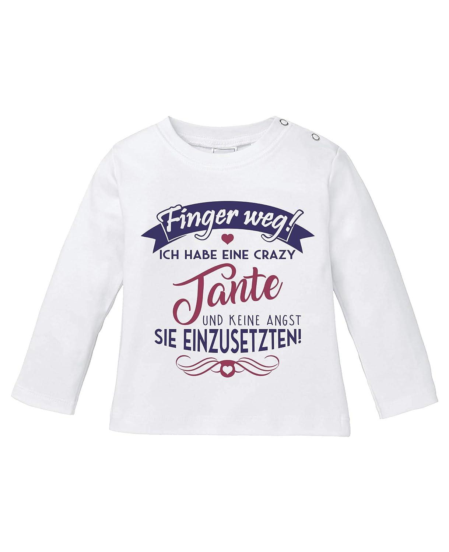 Langarm Basic Print-Shirt - Baby Langarm Shirt Comedy Shirts Ich Habe eine Crazy Tante Rundhals Finger Weg 100/% Baumwolle