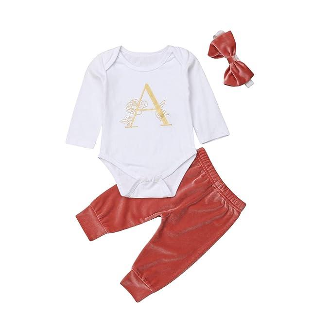 35a15d483 Amazon.com  Newborn Baby Girls Tops Romper Long Sleeve Velvet Pants ...