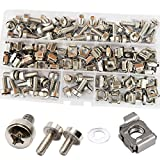Cage Nut and Mounting Screw Bolts Washers Metric Square Hole Hardware for Rack Mount Server Shelves Cabinets Assortment Kit M6X20mm,50Set