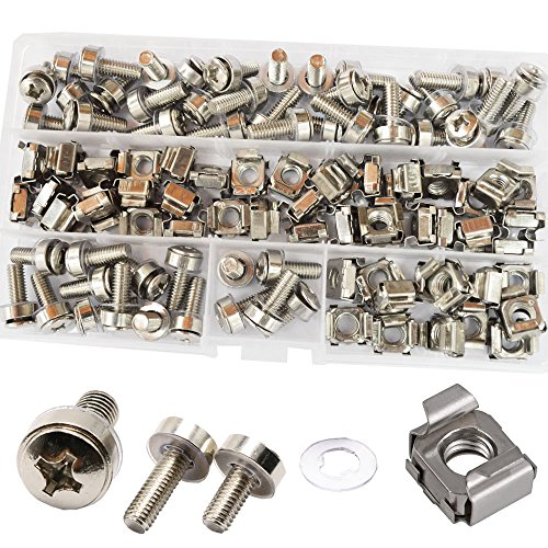 g Screw Bolts Washers Metric Square Hole Hardware for Rack Mount Server Shelves Cabinets Assortment Kit M6X20mm,50Set ()