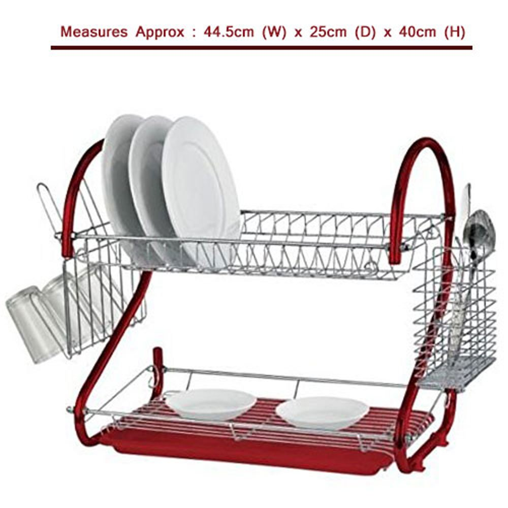 Babz 2-Tier Dish Drainer Rack Holder - 3 Colors (Red) Babz Media Ltd