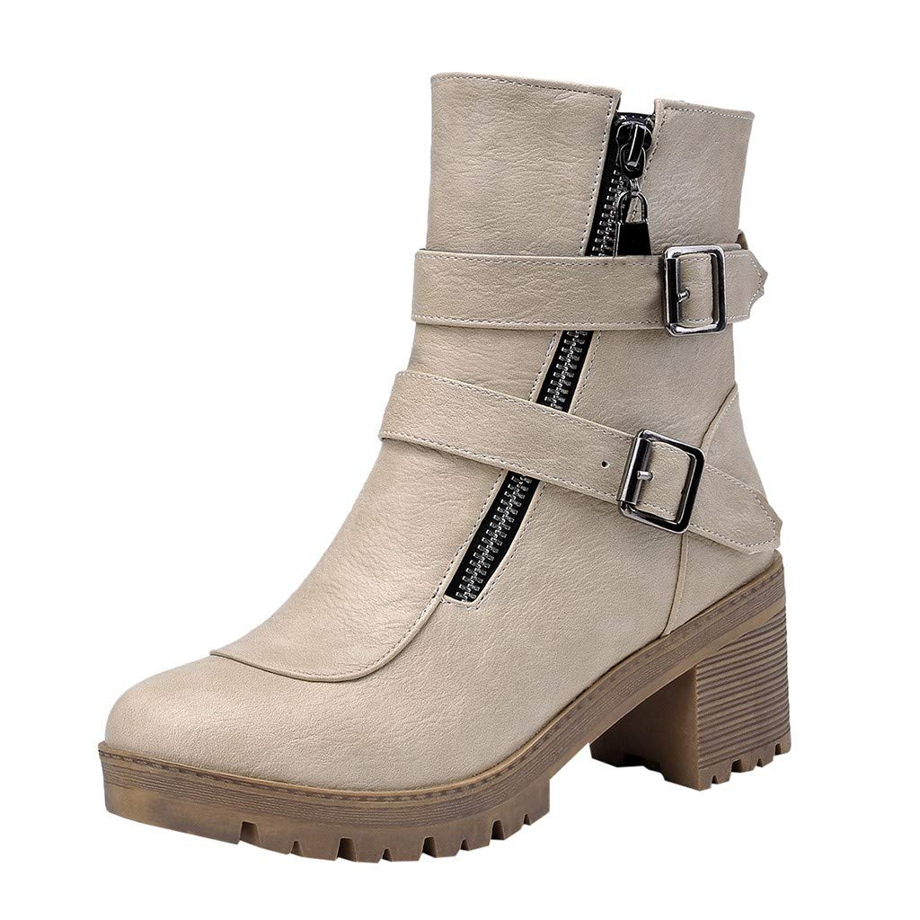 New Respctful✿ Women Buckle Strap Block shoesbooties Cut OutStacked Heel Ankle Boot Beige by Respctful_shoes