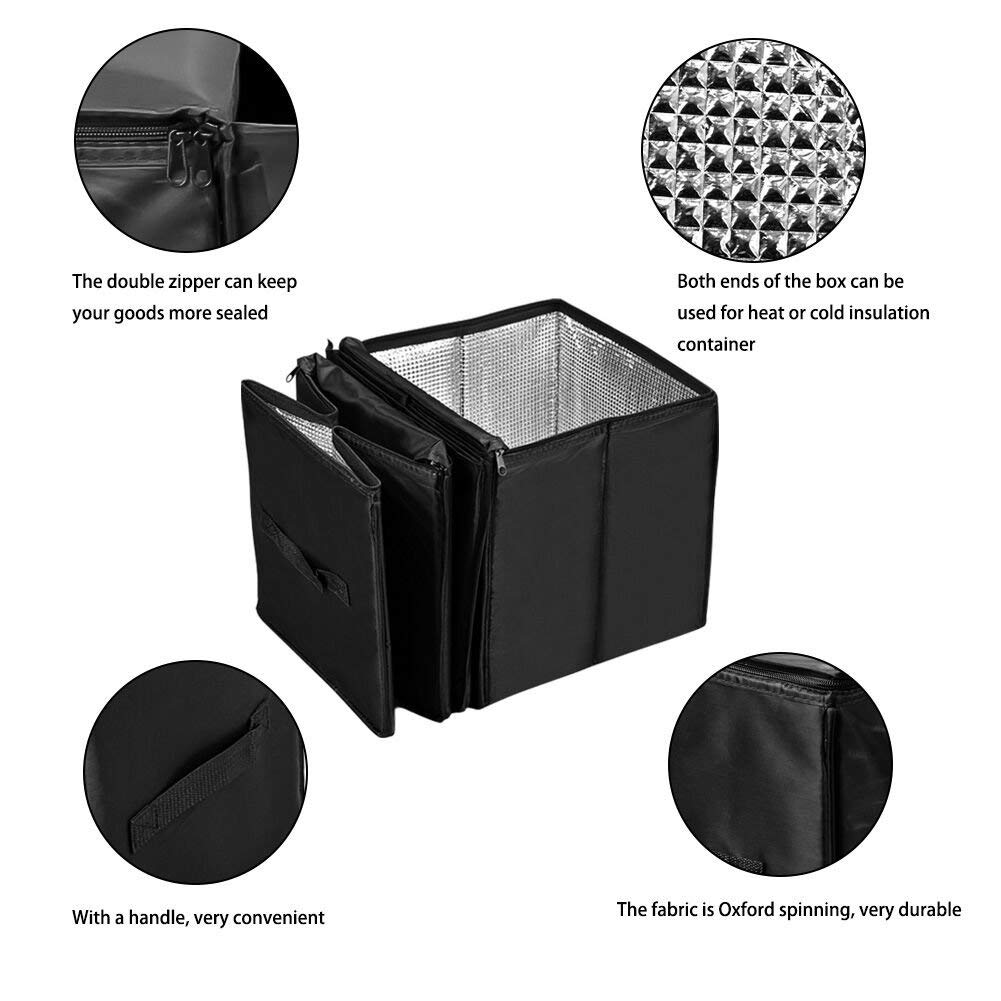 BMZX Tesla Model 3 Trunk Organizer Multi 4 Compartments Storage Basket and Cooler /& Warmer Set Black for Tesla Model 3 Model S Model X and Most Car Trunk
