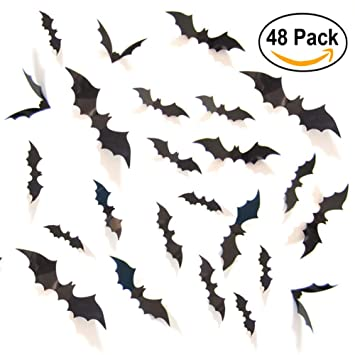 unomor halloween decorations bat stickers window wall dcor for party 4 sizes with 48 pieces