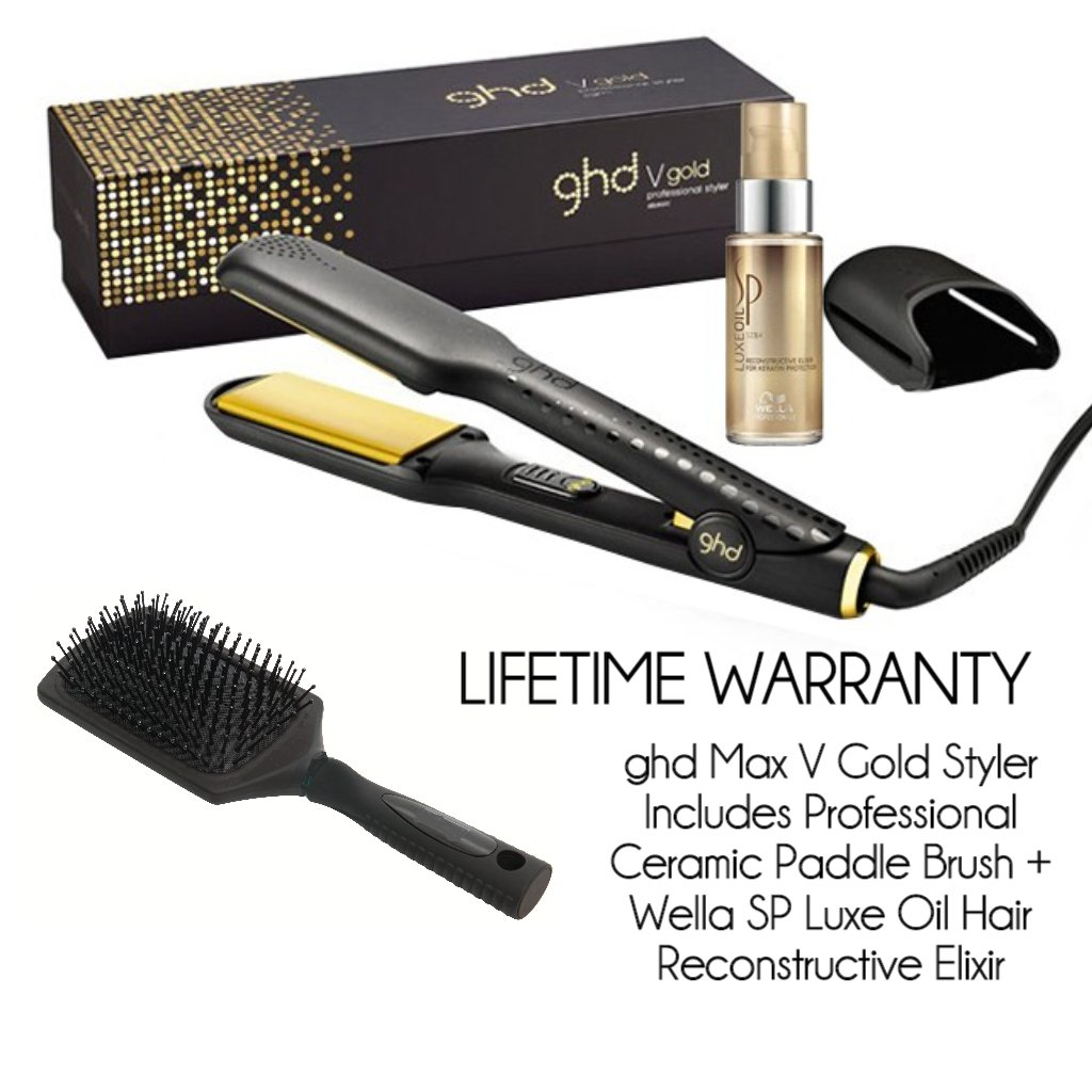 ghd Hair Straighteners Wide Plate V Gold Max Includes Professional Ceramic Paddle Brush + Wella SP Luxe Oil Reconstructive Elixir...