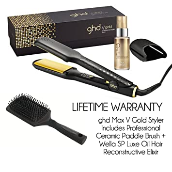 ghd Hair Straighteners Wide Plate V Gold Max Includes Professional Ceramic Paddle Brush + Wella SP  sc 1 st  Amazon UK & ghd Hair Straighteners Wide Plate V Gold Max Includes Professional ...