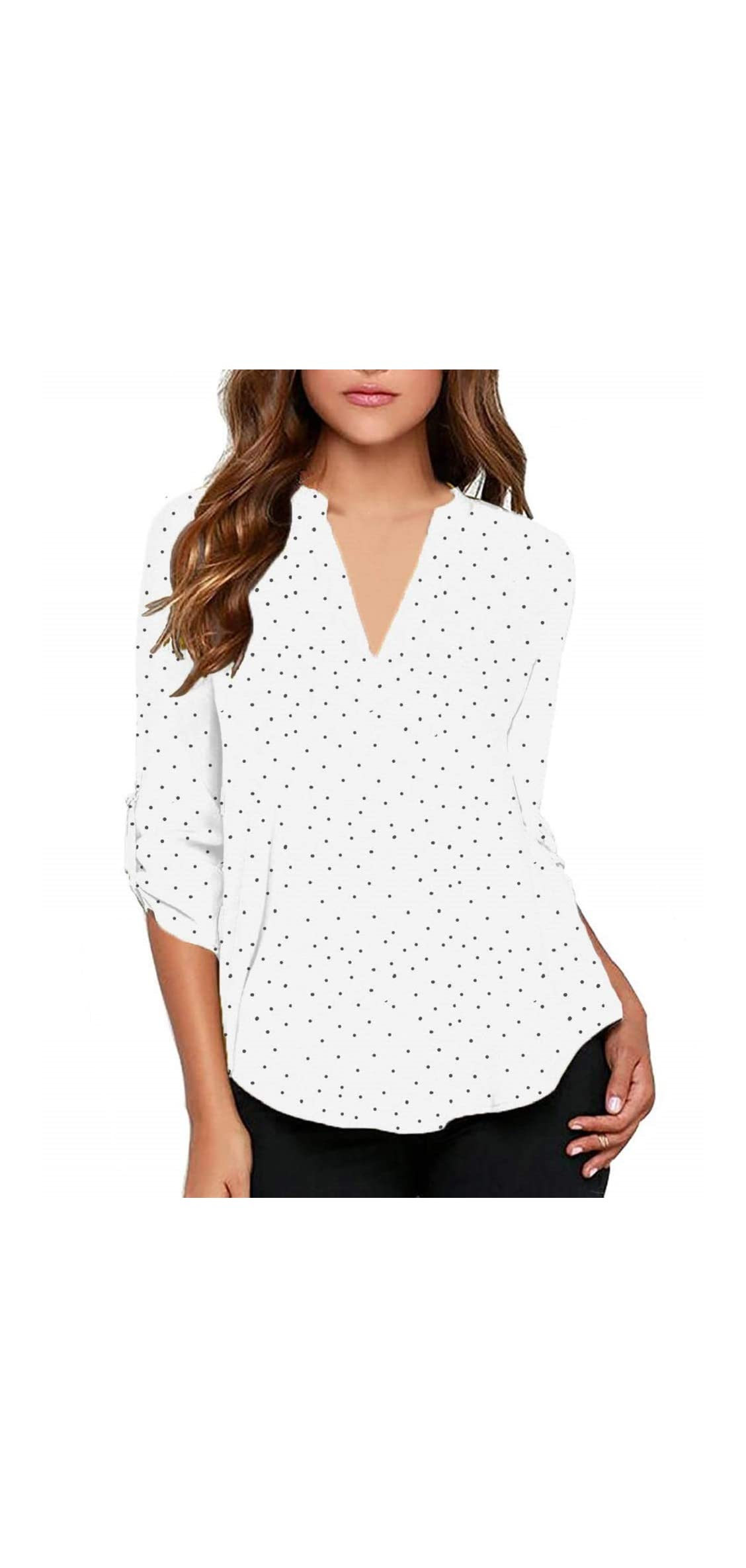 Women's Casual Polka Dot Roll Tab Long Sleeve Blouse