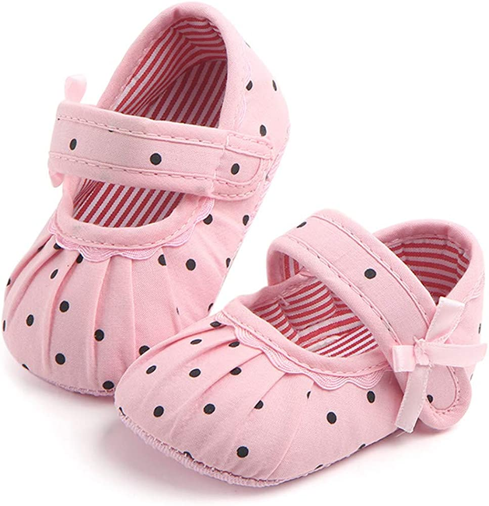 Meckior Infant Baby Girls Soft Sole Prewalker Crib Mary Jane Shoes Princess Light Shoes