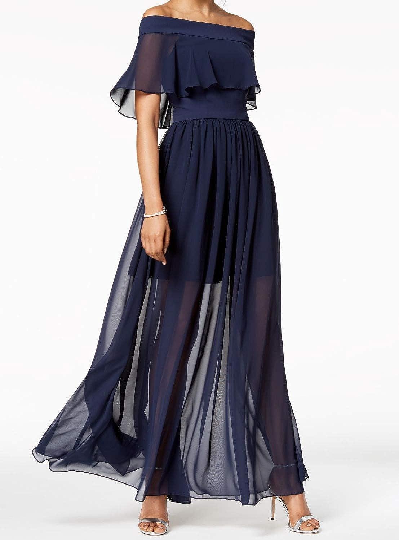 Betsy /& Adam Womens Chiffon Ruffled Formal Dress