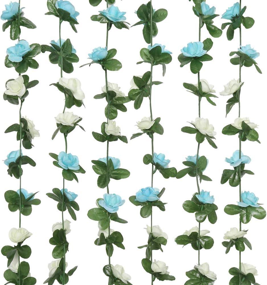 Greentime 6 Pcs 49.2 FT Fake Rose Vine Flowers Plants Artificial Flower Hanging Rose Ivy Home Hotel Office Wedding Party Garden Craft Art Decor Blue&White