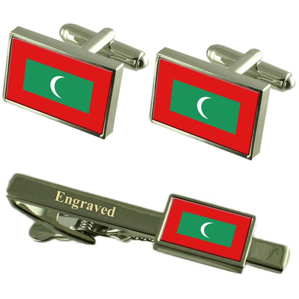 Maldives Flag Cufflinks Engraved Tie Clip Matching Box Set